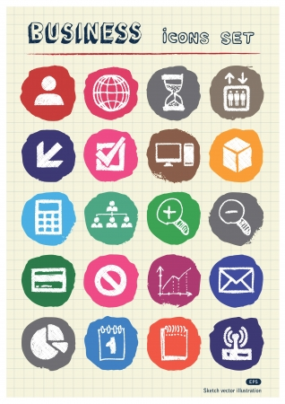 Business web icons set drawn by chalk  Hand drawn vector elements pack isolated on paper Vector