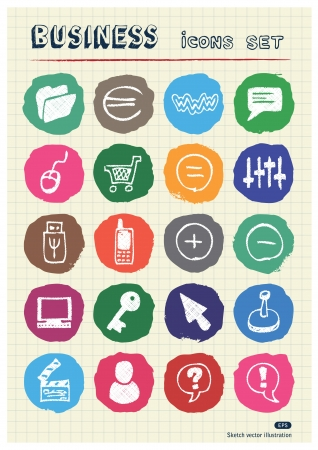 Business, media and social network web icons set drawn by chalk  Hand drawn vector elements pack isolated on paper   Vector