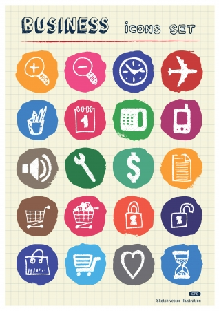 Business, shopping and work web icons set drawn by chalk  Hand drawn vector elements pack isolated on paper Vector