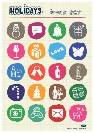 Christmas and other holidays web icons set drawn by chalk  Hand drawn vector elements pack isolated on paper   Vector