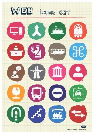 aduana: Aduanas y transporte web iconos conjunto urbano dibujado por la mano de tiza dibujado elementos Vector Pack aislado en papel