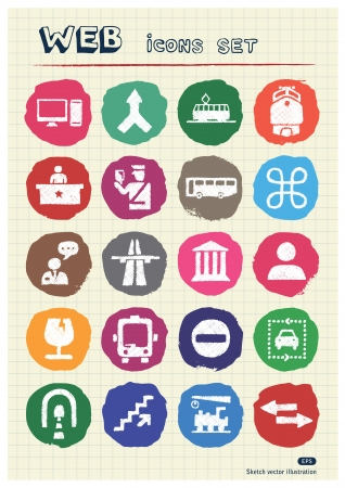 Customs and transport urban web icons set drawn by chalk  Hand drawn vector elements pack isolated on paper   Vector