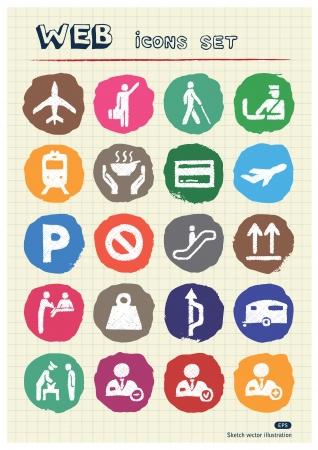 aduana: Iconos web urbanas aduanas y el transporte conjunto de la tiza dibujado por la mano dibuja elementos Vector pack aislados en papel