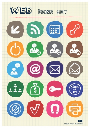 Doodle Internet and finance icons set drawn by chalk  Hand drawn vector elements pack isolated on paper Vector