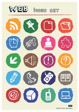 Doodle Internet web icons set drawn by chalk  Hand drawn vector elements pack isolated on paper Stock Vector - 17064457