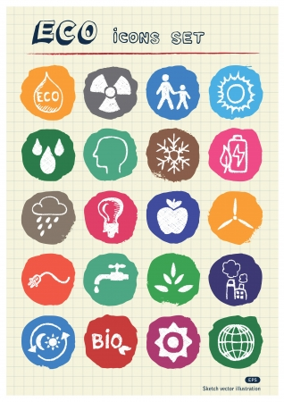 Eco elements and environment web icons set drawn by chalk  Hand drawn vector elements pack isolated on paper Vector