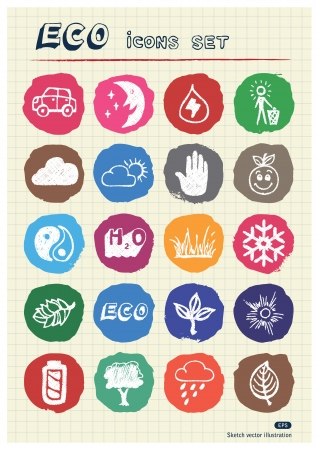 Ecology and environment web icons set drawn by chalk  Hand drawn vector elements pack isolated on paper Vector