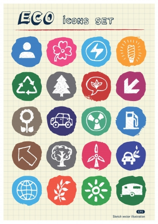 Ecology and nature web icons set drawn by chalk  Hand drawn vector elements pack isolated on paper Vector