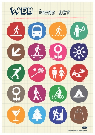 Family and vacation human figures icons set drawn by chalk  Hand drawn vector elements pack isolated on paper Stock Vector - 17064490
