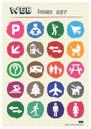 figuras humanas: Iconos de la familia y de las vacaciones Conjunto de figuras humanas dibujadas a mano tiza dibujado elementos Vector Pack aislado en papel