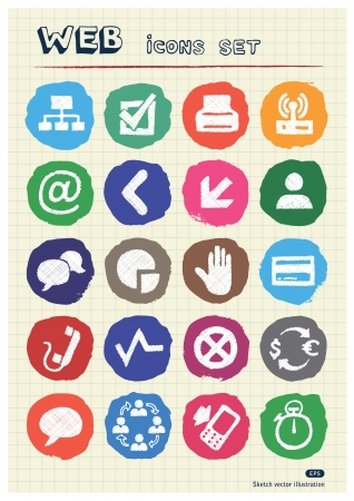Finance and Internet icons set drawn by chalk  Hand drawn vector elements pack isolated on paper Stock Vector - 17064505