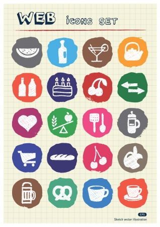 Food icons set drawn by chalk  Hand drawn vector elements pack isolated on paper Vector