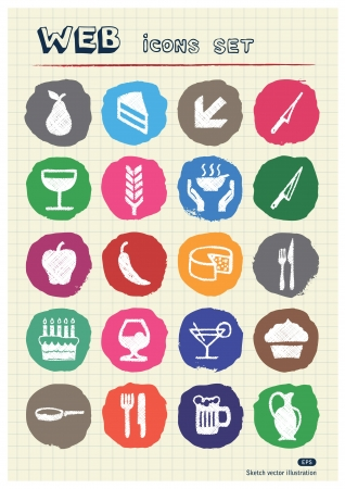 Food icons set drawn by chalk  Hand drawn vector elements pack isolated on paper Stock Vector - 17064415