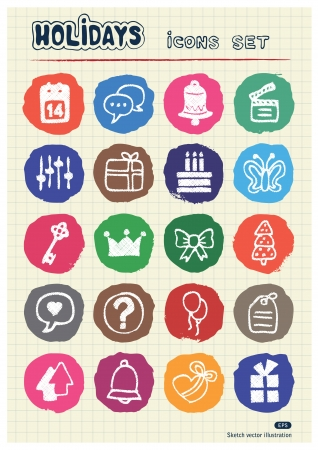 Holidays and celebration web icons set drawn by chalk  Hand drawn vector elements pack isolated on paper   Vector