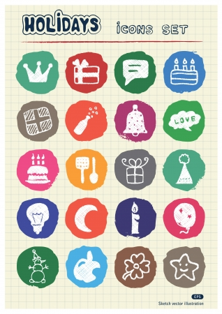 Holidays and celebration web icons set drawn by chalk  Hand drawn vector elements pack isolated on paper Stock Vector - 17064524