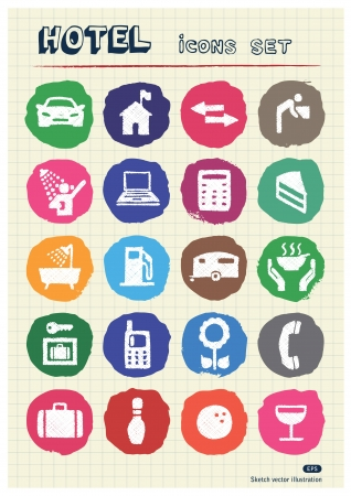 Hotel and service icons set drawn by chalk  Hand drawn vector elements pack isolated on paper Vector
