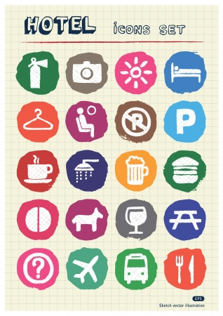 Hotel and service web icons set drawn by chalk  Hand drawn vector elements pack isolated on paper Vector
