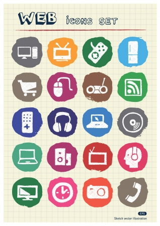 Household appliances and electronics web icons set drawn by chalk  Hand drawn vector elements pack isolated on paper   Vector