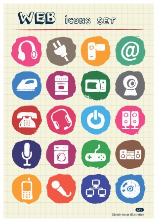 Household appliances and electronics web icons set drawn by chalk  Hand drawn vector elements pack isolated on paper Stock Vector - 17064595