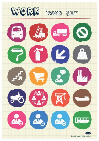 Industrial, work and repair web icons set drawn by chalk  Hand drawn vector elements pack isolated on paper Vector