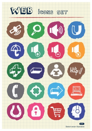 Internet and media icons set drawn by chalk  Hand drawn vector elements pack isolated on paper Stock Vector - 17064402