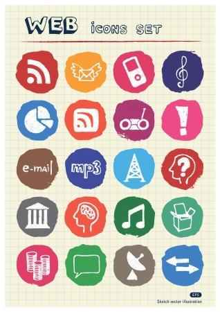 Internet and media icons set drawn by chalk  Hand drawn vector elements pack isolated on paper Stock Vector - 17064454
