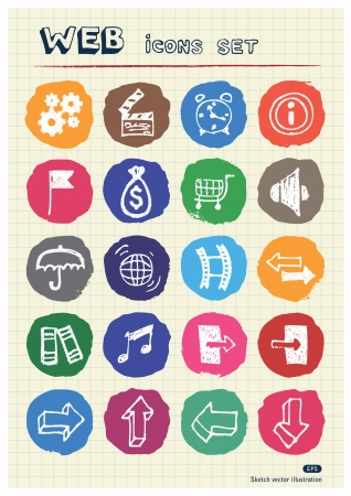 Internet and media icons set drawn by chalk  Hand drawn vector elements pack isolated on paper Stock Vector - 17064502