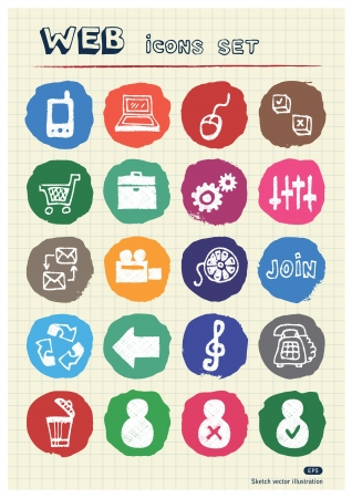 Internet and media icons set drawn by chalk  Hand drawn vector elements pack isolated on paper Stock Vector - 17064570