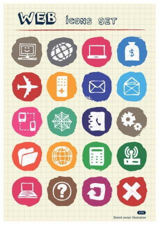 Internet icons set drawn by chalk  Hand drawn vector elements pack isolated on paper Stock Vector - 17064549