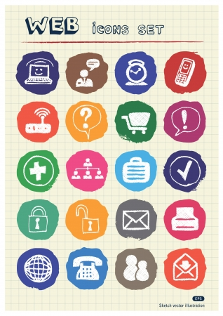 Internet icons set drawn by chalk  Hand drawn vector elements pack isolated on paper Vector