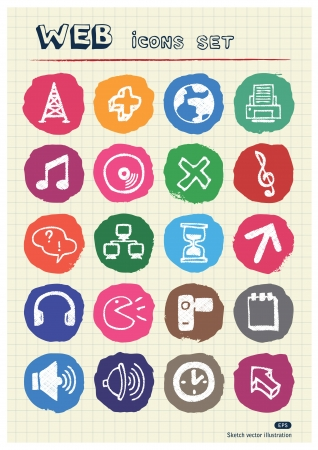 Internet, media and network web icons set drawn by chalk  Hand drawn vector elements pack isolated on paper Vector