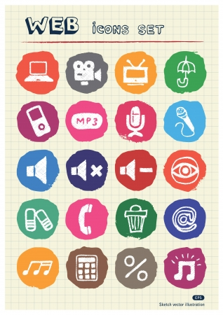 Internet, media and network web icons set drawn by chalk  Hand drawn vector elements pack isolated on paper Stock Vector - 17064567