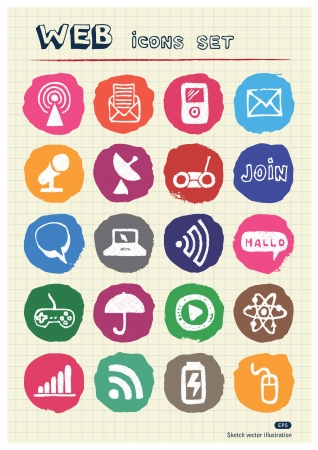 Internet, media and network web icons set drawn by chalk Vector