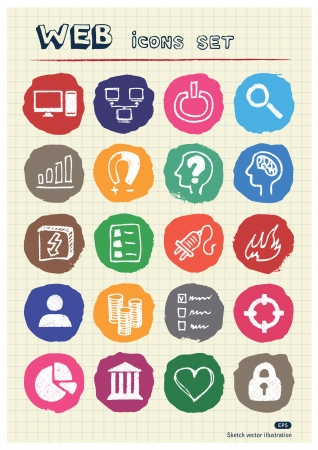 Internet, media and network web icons set drawn by chalk  Hand drawn vector elements pack isolated on paper Stock Vector - 17064438