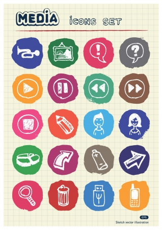 Media and arrows web icons set drawn by chalk  Hand drawn vector elements pack isolated on paper Vector