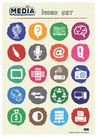 Media and business icons set drawn by chalk  Hand drawn elements pack isolated on paper Vector