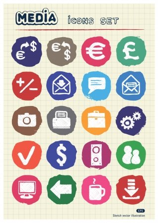 Media and business icons set drawn by chalk  Hand drawn vector elements pack isolated on paper Vector