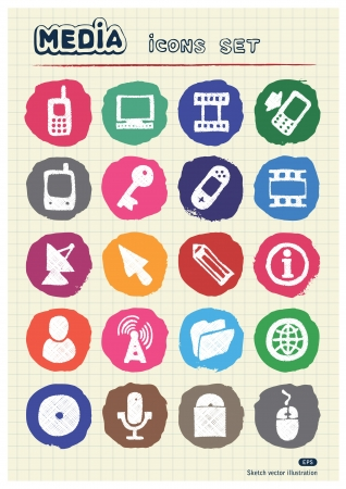 Media and business icons set drawn by chalk  Hand drawn elements pack isolated on paper Stock Vector - 17054775