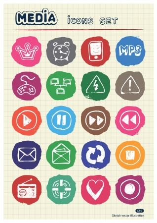 Media and communication web icons set drawn by chalk  Hand drawn elements pack isolated on paper Stock Vector - 17054768