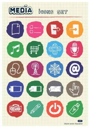 Media and communication web icons set drawn by chalk  Hand drawn vector elements pack isolated on paper Vector