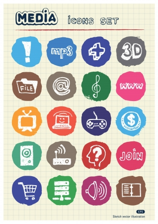 Media and social network web icons set drawn by chalk  Hand drawn elements pack isolated on paper Stock Vector - 17054766
