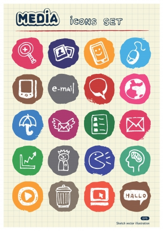 Media and social network web icons set drawn by chalk  Hand drawn elements pack isolated on paper Vector