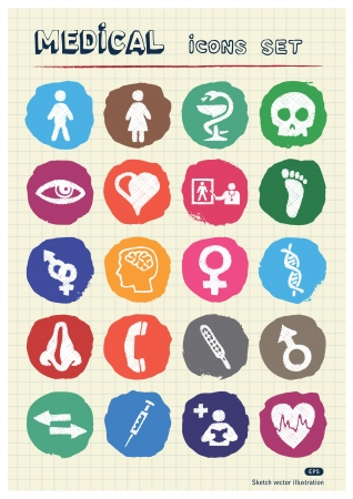 Medical and human web icons set drawn by chalk  Hand drawn vector elements pack isolated on paper Stock Vector - 17054771