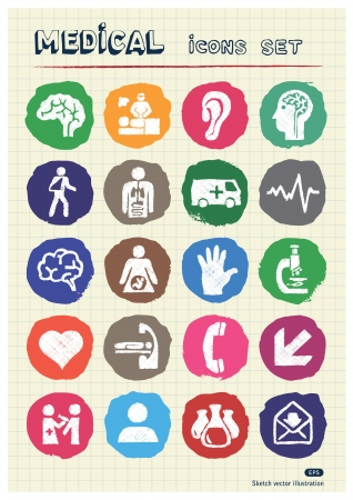 Medical and human web icons set drawn by chalk  Hand drawn elements pack isolated on paper Vector