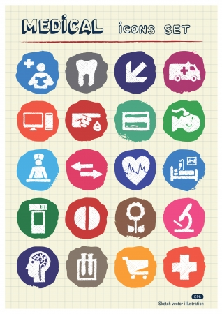 Medical and human web icons set drawn by chalk  Hand drawn vector elements pack isolated on paper Stock Vector - 17054783
