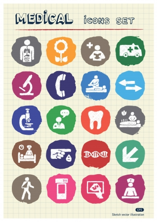 Medical web icons set drawn by chalk  Hand drawn vector elements pack isolated on paper Vector