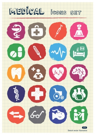 Medical web icons set drawn by chalk  Hand drawn elements pack isolated on paper Vector