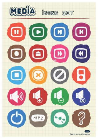 Music and media web icons set drawn by chalk  Hand drawn elements pack isolated on paper Vector