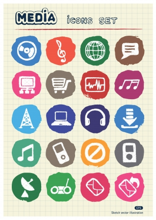 Music and media web icons set drawn by chalk  Hand drawn vector elements pack isolated on paper Vector