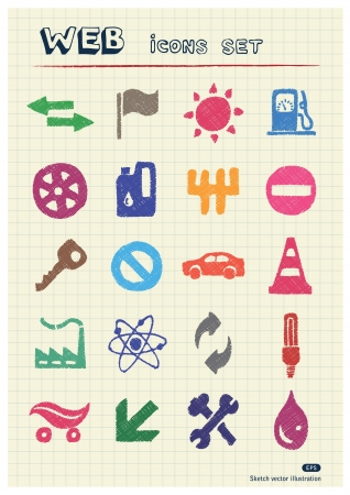 Auto and energy web icons set drawn by color pencils  Hand drawn elements pack isolated on paper Vector